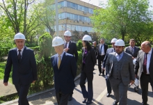 IAEA Director General Yukiya Amano is accompanied by Mr Hakob Vardanyan, Acting Minister of Energy Infrastructures and Natural Resources and staff from the Ministry and the Nuclear Power Plant as he visits the Armenian Nuclear Power Plant (ANPP) in Metsamor during his official visit to Armenia. 29 April 2019