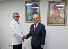 IAEA Director General Yukiya Amano met with Dr Alfredo Gonzalez Lorenzo, Deputy Minister of Health of Cuba, during his official visit to Havana, Cuba, 17 May 2019