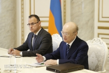 IAEA Director General Yukiya Amano met with His Excellency Nikol Pashinyan, Prime Minister of the Republic of Armenia during his official visit to Yerevan, Armenia on 29 April 2019. Far left, Edgard Perez Alvan, Assistant to the DG and Deputy Coordinator.  Photo Credit: Press Office of the Government of Armenia