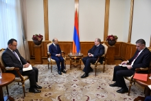IAEA Director General Yukiya Amano met with His Excellency Armen Sarkissian, President of the Republic of Armenia during his official visit to Yerevan, Armenia on 29 April 2019. Far left, Edgard Perez Alvan, Assistant to the DG and Deputy Coordinator.