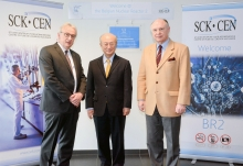 IAEA Director General Yukiya Amano with Eric van Walle (left), Director General SCK-CEN and Derrick Philippe Boduin Gosselin (right), Executive Chairman of the Belgian Nuclear Research Centre SCK-CEN, at the inauguration of SCK-CEN as as International Centre based on Research Reactors (ICERR), during his official visit to Belgium. 21 March 2018.  Photo Credit: SCK-CEN