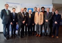 IAEA Director General Yukiya Amano with staff from the Belgian SCK-CEN Nuclear Research Facility, during his official visit to Belgium. Far left, Cornel Feruta, IAEA Chief Coordinator. 21 March 2018  Photo Credit: SCK-CEN