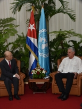 IAEA Director General Yukiya Amano met with President Miguel Díaz-Cane during his official visit to Havana, Cuba, 17 May. 