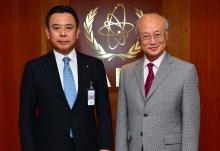 IAEA Director General Yukiya Amano met with Yosuke Takagi, State Minister of Economy, Trade and Industry of Japan, on 3 June 2016 at the IAEA headquarters in Vienna, Austria.