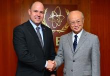 IAEA Director General Yukiya Amano met with César José Cardozo Román, Minister, Executive Secretary, Radiological Nuclear Regulatory Authority (ARRN) of Paraguay at the IAEA headquarters in Vienna, Austria on 29 June 2016.  Photo Credit: Dean Calma / IAEA