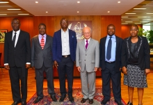 IAEA Director General Yukiya Amano met with the Zimbabwean delegation during their visit to the IAEA headquarters in Vienna, Austria. 2 August 2016.