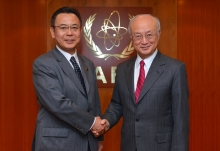 IAEA Director General Yukiya Amano met with Yosuke Takagi, State Minister of Economy, Trade and Industry of Japan, at the IAEA headquarters in Vienna, Austria on 2 December  2016.