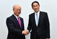 IAEA Director General Yukiya Amano met with Fumio Kishida, Minister of Foreign Affairs of Japan at the IAEA headquarters in Vienna, Austria on 2 May 2017.
