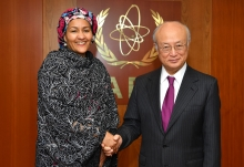 IAEA Director General Yukiya Amano met with Amina J. Mohammed, United Nations Deputy Secretary-General, during her visit at the IAEA headquarters in Vienna, Austria on 12 May 2017.