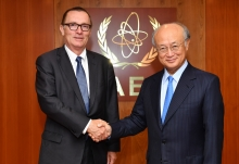 IAEA Director General Yukiya Amano met with Jeffrey Feltman, United Nations Under-Secretary-General for Political Affairs at the IAEA headquarters in Vienna, Austria on 10 July 2017.