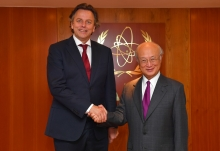 IAEA Director General Yukiya Amano met with Bert Koenders, Foreign Minister of the Netherlands, at the IAEA headquarters in Vienna, Austria on 12 July 2017.