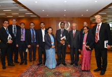 IAEA Director General Yukiya Amano met with Dr Sanjay Sharma, Secretary of Science and Technology of Nepal, and his delegation at the IAEA headquarters in Vienna, Austria on 14 December 2017.