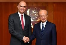 IAEA Director General Yukiya Amano met with H.E. Mr. Alain Berset, President of the Swiss Confederation, at the IAEA headquarters in Vienna, Austria on 8 January 2018.