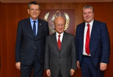 IAEA Director General Yukiya Amano met with French Parliamentarians, Jean Paul Lecoq (left) and Michel Fanget (right), at the IAEA headquarters in Vienna, Austria on 1 February 2018.