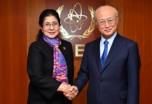 IAEA Director General Yukiya Amano met with Her Excellency Ms Nila F. Moeloek, Minister for Health of the Republic of Indonesia at the IAEA headquarters in Vienna, Austria on 2 February 2018.