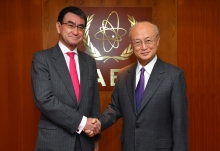 IAEA Director General Yukiya Amano met with His Excellency Mr Taro Kono, Minister for Foreign Affairs of Japan during his official visit to the IAEA Headquarters in Vienna, Austria. 15 February 2018.