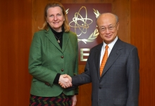 IAEA Director General Yukiya Amano met with Her Excellency Ms Karin Kneissl, Minister for Foreign Affairs of Austria during her official visit to the IAEA Headquarters in Vienna, Austria. 20 February 2018.