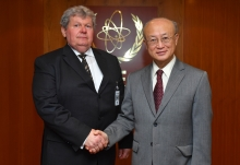 IAEA Director General Yukiya Amano met with HE Mr János Süli, Minister without portfolio responsible for planning, construction and commissioning of the two new blocks at Paks NPP during his official visit to the IAEA Headquarters in Vienna, Austria. 28 February 2018.