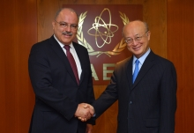 IAEA Director General Yukiya Amano met with General Sérgio Westphalen Etchegoyen, Minister of State, Chief of the Cabinet of Secretary of Institutional Security of Brazil at the IAEA headquarters in Vienna, Austria on 23 April 2018.