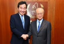 IAEA Director General Yukiya Amano met with H.E. Mr Lee Nak-yon, Prime Minister of the Republic of Korea at the IAEA headquarters in Vienna, Austria on 25 May 2018.