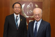 IAEA Director General Yukiya Amano  met  with Pichet Durongkaveroj, Minister of Digital Economy and Society of Thailand at the IAEA headquarters in Vienna, Austria. 20 June 2018