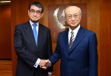 IAEA Director General Yukiya Amano met with His Excellency Mr Taro Kono, Minister for Foreign Affairs of Japan during his official visit to the IAEA Headquarters in Vienna, Austria. 5 July 2018.