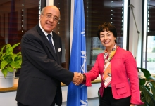 Mary Alice Hayward, IAEA Acting Director General, and Head of the Department of Management met with H.E. Mohamed Samir Koubbaa, new Head of the Mission of the League of Arab States during his official visit to the IAEA Headquarters in Vienna, Austria. 18 September 2018.