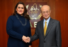IAEA Director General Yukiya Amano met with HE Ms María Dolores Agüero Lara, Minister for Foreign Affairs of Honduras during her visit to the Agency headquarters in Vienna, Austria on 5 December 2018