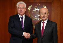 IAEA Director General Yukiya Amano met with H.E. Mr. Beibut Atamkulov, Minister for Foreign Affairs of the Republic of Kazakhstan at the Agency headquarters in Vienna, Austria on 6 May 2019