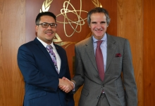 Hon. Senator Matthew Samuda of Jamaica, met with IAEA Director General Rafael Mariano Grossi during his official visit to the Agency headquarters in Vienna, Austria, 5 March 2020.