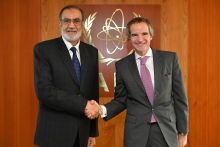 Mr Muhammad Naeem, Governor to the IAEA Board and Chairman of the Pakistan Atomic Energy Commission met with IAEA Director General Rafael Mariano Grossi during his official visit to the Agency headquarters in Vienna, Austria, 10 March 2020.