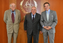 IAEA Director General Rafael Mariano Grossi met with Prof. Paolo Cotta Ramusimo, Secretary General of Pugwash Conferences on Science and World Affairs and Sergey Batsanov, Director of the Geneva Office of Pugwash Conferences, Former Ambassador to the Conference on Disarmament during their official visit at the Agency headquarters in Vienna, Austria. 22 June 2020