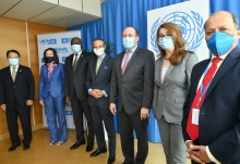 Rafael Mariano Grossi, IAEA Director General, International Atomic Energy Agency together with the other Heads of the Vienna-Based Organizations, Ghada Waly, Director General of the United Nations Office in Vienna and Executive Director of the United Nations Office on Drugs and Crime, Li Yong, Director General, United Nations Industrial Development Organization and Lassina Zerbo, Executive Secretary, Comprehensive Nuclear-Test-Ban Treaty Organization, Melissa Fleming, UN Under-Secretary-General for Global Communications and HE Mr. Mansoor Ahmad Khan, Resident Representative of Pakistan to the IAEA, welcomes His Excellency Mr Alexander Schallenberg, Federal Minister for European and International Affairs of the Republic of Austria upon his arrival at the Vienna International Centre, Vienna, Austria. 26 June 2020