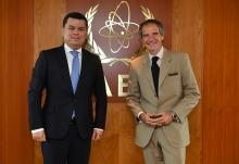 Rafael Mariano Grossi, IAEA Director General, met with Mr. Sherzod Asadov, Deputy Foreign Minister of the Republic of Uzbekistan, Former Permanent Representative of the Republic of Uzbekistan to the International Organizations in Vienna, during his official visit at the Agency headquarters in Vienna, Austria. 20 July 2020