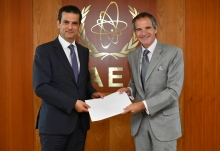 Rafael Mariano Grossi, IAEA Director General, receives a hand-over letter from the Minister of Foreign Affairs of Lebanon delivered by HE Mr. Ibrahim Assaf, Resident Representative of Lebanon to the IAEA during his official visit to the Agency headquarters in Vienna, Austria. 21 July 2020.