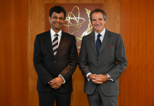 Rafael Mariano Grossi, IAEA Director General, met with Professor Atish Dabholkar, Director of the Abdus Salam International Centre for Theoretical Physics (ICTP) during his official visit to the Agency headquarters in Vienna, Austria. 8 September 2020