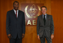 Rafael Mariano Grossi, IAEA Director General met with HE Mr. Ousmane Issoufou Oubandawaki, Governor to the IAEA Board of Governors and President of HANEA from Niger, during his official visit to the Agency headquarters in Vienna, Austria. 18 September 2020  Photo Credit: Dean Calma / IAEA