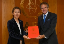 HE Ms. Gankhuurai Battungalag, Resident Representative of Mongolia to the IAEA, handed a Letter of Gratitude from HE Mr. Khurelsukh Ukhna, Deputy Prime Minister of Mongolia to IAEA Director General Rafael Mariano Grossi, for IAEA's response to the COVID-19 pandemic at the Agency headquarters in Vienna, Austria. 1 October 2020