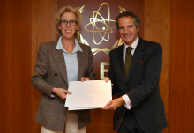 HE Ms. Mikaela Kumlin Granit, Resident Representative of Sweden to the IAEA, handed three pledge letters all signed by Carl Skau, Head of the Department for Conflict and Humanitarian Affairs of Sweden to Rafael Mariano Grossi at the Agency headquarters in Vienna, Austria. 6 October 2020