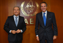 Rafael Mariano Grossi, IAEA Director General, met with The Honourable Francois-Philippe Champagne, Minister of Foreign Affairs of Canada during his official visit to the Agency headquarters in Vienna, Austria. 14 October 2020