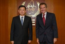 Rafael Mariano Grossi, IAEA Director General, met with Zhang Jianhua, Vice Chairman, China Atomic Energy Authority (CAEA), during his official visit to the Agency headquarters in Vienna, Austria. 12 November 2020.