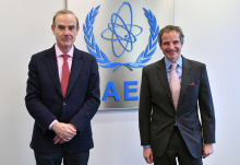 Rafael Mariano Grossi, IAEA Director General, met with Enrique Mora, Deputy Secretary-General European Union, during his official visit at the Agency headquarters in Vienna, Austria. 7 April 2021.