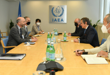 Rafael Mariano Grossi, IAEA Director General, met with Robert Malley, Special Envoy for Iran, US Department of State, during his official visit at the Agency headquarters in Vienna, Austria. 30 April 2021. The Director General is joined by Massimo Aparo, IAEA Deputy Director General and Head of the Department of Safeguards  and Mark Bassett, Special Assistant to the DG for Nuclear Safety and Security and Safeguards.