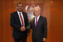 IAEA Director General Yukiya Amano met with Afework Kassu Gizaw, State Minister, Ministry of Science and Technology of Ethiopia, at the IAEA headquarters in Vienna, Austria on 20 December 2016.