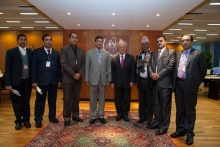 IAEA Director General Yukiya Amano met with the delegation of Nepal during their visit to the IAEA headquarters in Vienna, Austria. 20 December 2016.