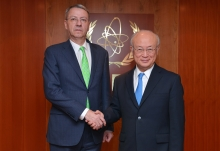 IAEA Director General Yukiya Amano met with George Ciamba, First Deputy Minister for Multilateral Matters of Romania, at the IAEA headquarters in Vienna, Austria on 18 January 2017.