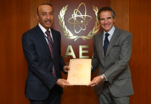HE Mr. Sultan Salmeen Almansouri, Resident Representative of Qatar to the IAEA, hands over the Accession of the State of Qatar to the Convention of the Nuclear Safety document signed by HH The Emir of the State of Qatar to Rafael Mariano Grossi, IAEA Director General, during his official visit to the Agency headquarters in Vienna, Austria. 14 December 2020