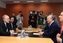 IAEA Director General Yukiya Amano meets with Iranian Vice-President and Chairman  of the Atomic Energy Organization of Iran, Ali Akbar Salehi at the IAEA headquarters in Vienna, Austria on 5 May 2016.