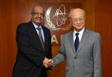 IAEA Director General Yukiya Amano met with HE Mr Abdelkader Messahel, Minister of Foreign Affairs of Algeria during his official visit to the IAEA Headquarters in Vienna, Austria. 16 February 2018.