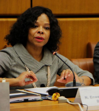 """<br><br>A long standing personal and professional commitment to international development based on gender equality, social inclusion, and respect for and protection of human rights, is what brought Nelly Enwerem-Bromson to the IAEA as the Director of the Programme of Action for Cancer Therapy from 2014 to 2019. A cancer survivor herself, at the Agency she worked to help ensure cancer patients in low- and lower middle-income countries were able to have equitable access to quality, affordable cancer control services.<br><br> Throughout her career, Nelly has benefitted from the support of her family, who, she says, have always motivated one another to test the limits and courageously fight for equality, gender justice and the empowerment of women. She is currently a Senior Director at Building Resources Across Communities where she continues her work to empower people and communities suffering from poverty, illiteracy, disease and social injustice, and to help find economic and social interventions that enable women to realize their potential. <br><br> Nelly's advice to young women and future leaders is to """"believe in yourselves and always empower others to brave the odds, reach up high and be true to themselves and their aspirations."""""""